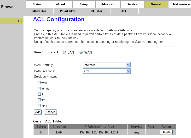 Page 67 of 78 LAN ACL Switch: You can enable or disable the ACL function on LAN side. If it is disabled, all hosts on LAN side can access the services which your router provides.