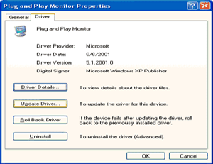 5. Select the 'Settings' tab then click on the 'Advanced' button. 6. Select 'Monitor' tab - If the 'Properties' button is inactive, it means your monitor is properly configured.