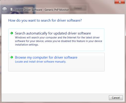 9. Click the Driver tab. 10. Open the Update Driver Software-Generic PnP Monitor window by clicking on Update Driver.