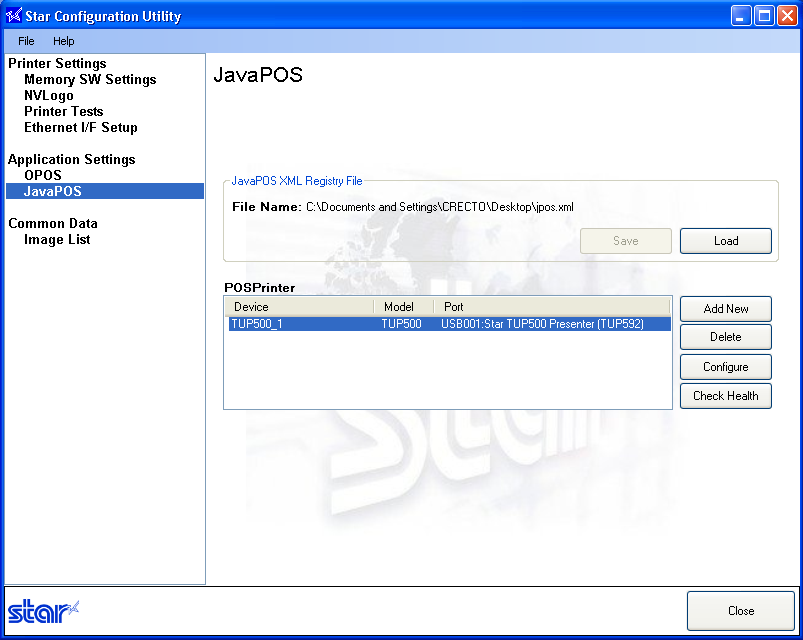 Configuring JavaPOS In the configuration utility on the left side, click on JavaPOS and click on Add New on the right side. Select your printer port and click OK.