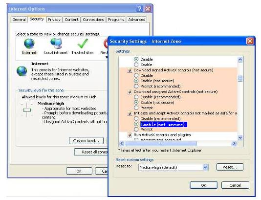 2) Download ActiveX controller and set security setting of IE: IE browser Tool Internet Proper Security Custom Level ActiveX control and Plug-ins.
