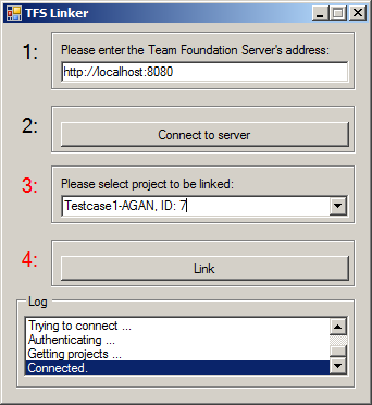 3. Reference Implementation Figure 3.7.: Configuration page of the Team Foundation Server tool provider. Work Item Linking The tool provider for TFS suffers a great problem with process templates.