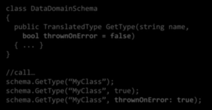 C# Optional Parameters class DataDomainSchema { class public DataDomainSchema TranslatedType GetType(string name) { { public return TranslatedType GetType(name, GetType(string false); name, } bool
