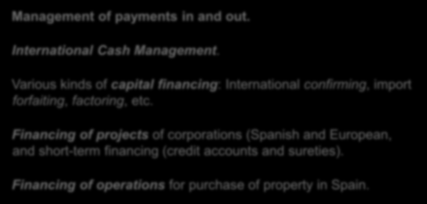 Spanish Desks Products and services Management of payments in and out. International Cash Management.