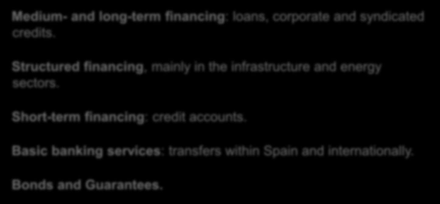 International Branches Products and services Medium- and long-term financing: loans, corporate and syndicated credits.