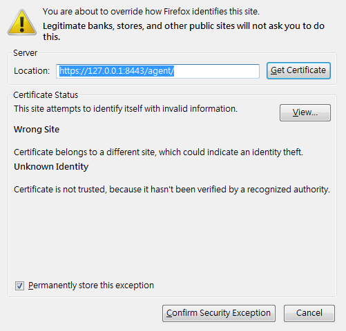 Firefox displays that the security certification is not trusted.