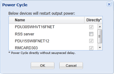 A confirmation window of a bulk power cycle operation Note: If a group contains the UPS systems which has connected with PDU units, a power cycle or a power off to the selected group will result in