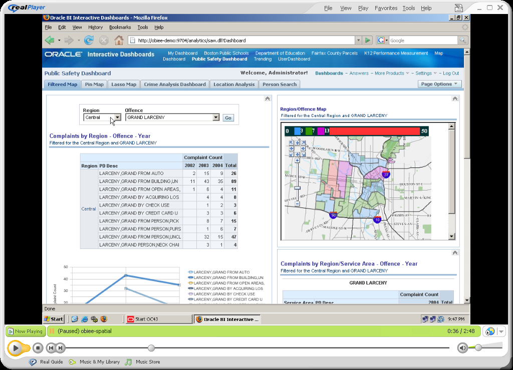 MapViewer with JDeveloper and Oracle BI