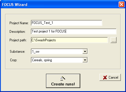 2.1.2 The FOCUS wizard The FOCUS wizard is a tool to assist the user to generate all the runs needed for a specific substance crop combination and to create a report with an overview of these runs.