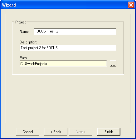 Figure 2.15: The User-Defined Wizard Project Name and description After clicking on Finish the runs are generated and the user gets a message on the number of runs created.