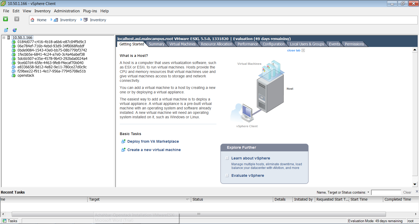 Figure 3: access to VMs (OpenStack instances) through vsphere Client interface References http://docs.openstack.