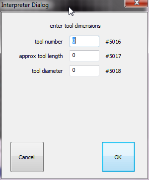 2.2.5 User button 2 Use for automatic tool-length measurement using a fixed toolsetter, the tool length is stored into the tool table. This is a more complex example of a user macro.