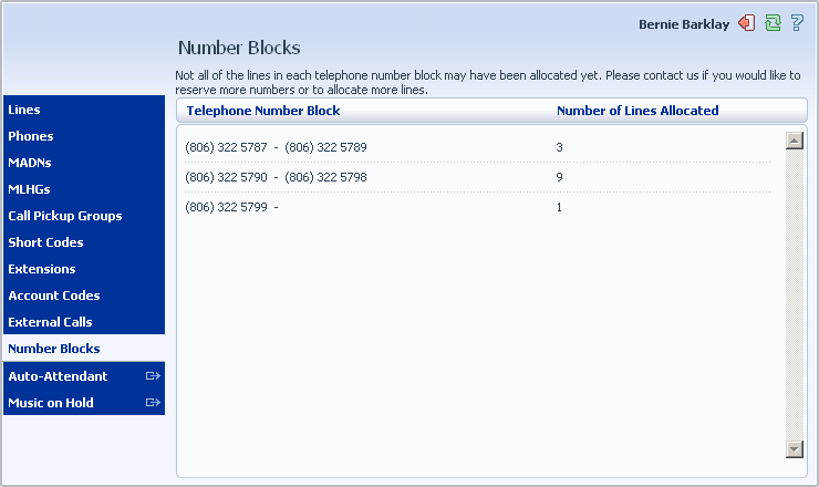 12 Viewing Number Blocks The Number Blocks page displays all of