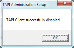 Disabling TAPI Client To Disable the TAPI client start a command prompt Once the