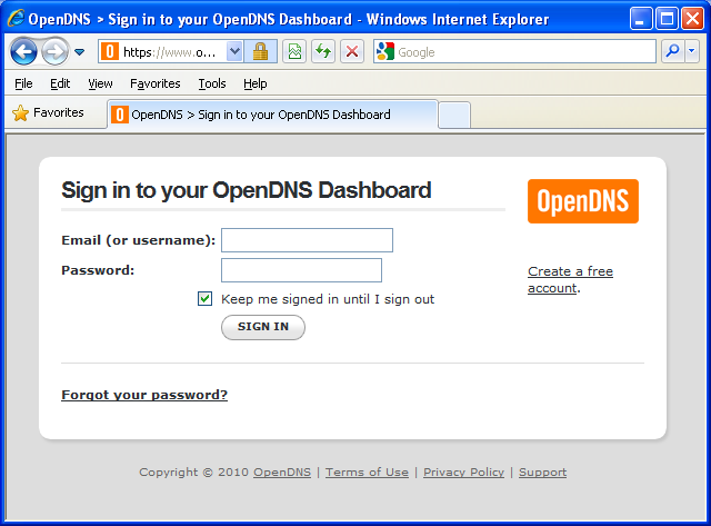 You should click on sign out at this point as you need to confirm your account by checking your email and then clicking on the link provided to confirm your OpenDNS account.