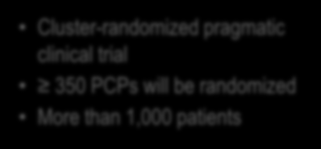 Trial Design Cluster-randomized pragmatic clinical