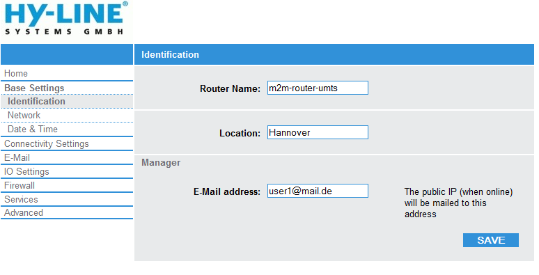 Base Settings - Identification: Router name: Location: Manager: Name of router, max.