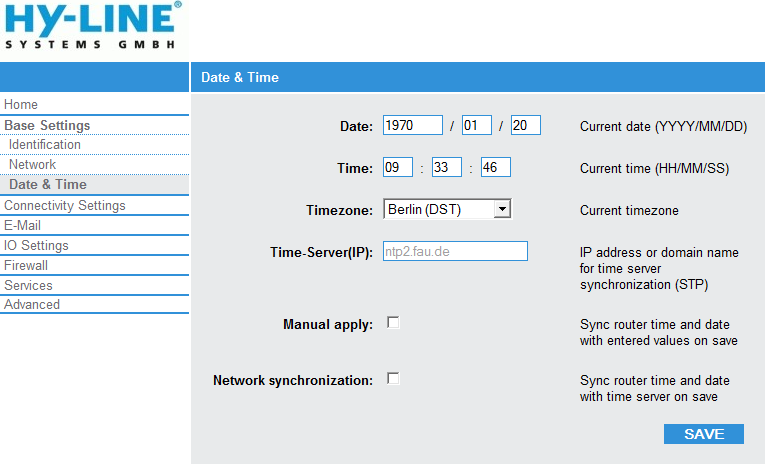 Base Settings - Date & Time: Date, Time: Timezone: Date and time of the router Timezone in which the router is (Please be aware that the summer and winter time will be automatically switched only in