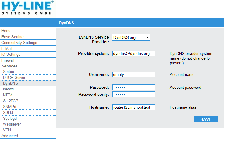 Services - DynDNS: DynDNS Service Provider: Choose your provider for the DynDNS server.