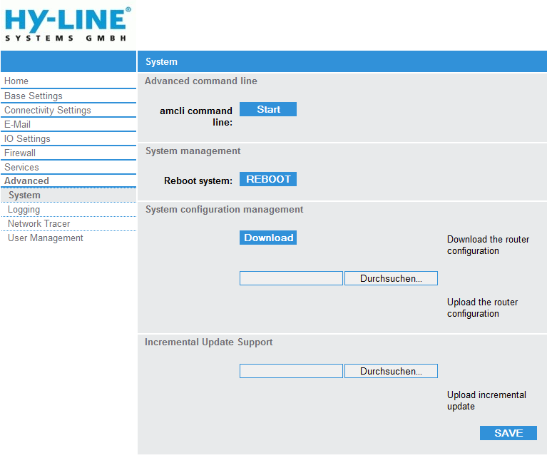 Advanced - System: System management: Advanced command line: Command Line Interface HY-LINE