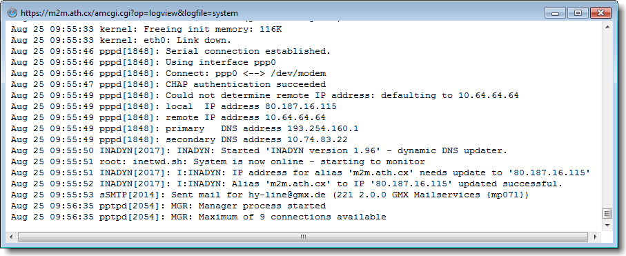 Advanced - Logging: System Log: The system log will show details about the routers functions, e.g. dial in the internet, sending mails, using DynDNS, etc.