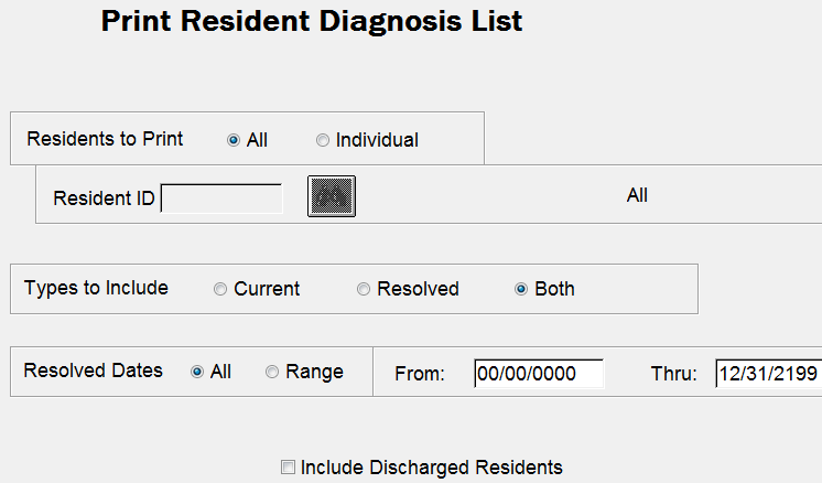 Resident Diagnosis List NR06 Types to Include Resolved: Through Edit Medical Record > Physician/Diagnoses you can checkmark a diagnosis in the Move to History column and enter a Resolved date.