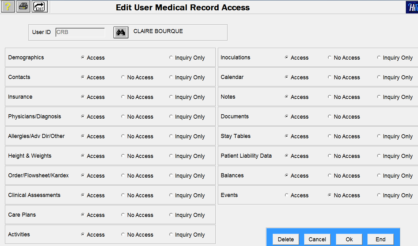 EMR Security for Activities and Events The Release 12.03 conversion process applied previous security settings for Activities/Events to the new Activities and Events options.