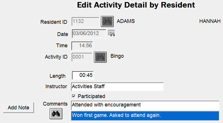 Documentation > Activities Document Activities Hi-Tech suggests that you use Activities to record items such as bingo, birthday party, music hour, etc.