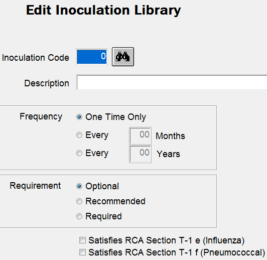 Documentation > Inoculations Edit Detail by Resident Edit Detail by Inoculation (below) Use if several residents receive the same inoculation on the same day.