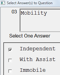 8. Date: Enter or select the date for a new assessment or existing assessment that is not yet Complete. Click View History to list and select existing assessment.