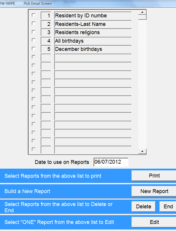 Reporting > Custom Reporting > Resident - Clinical Custom Reporting NRPK You can design listings of information that you have entered into residents face sheets; for example: Resident names and room