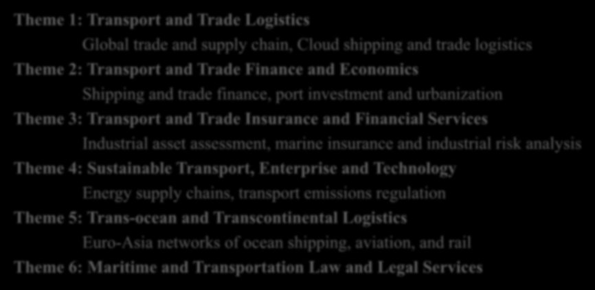 ATTSS 2014 Call for Papers Themes and Topics Theme 1: Transport and Trade Logistics Global trade and supply chain, Cloud shipping and trade logistics Theme 2: Transport and Trade Finance and