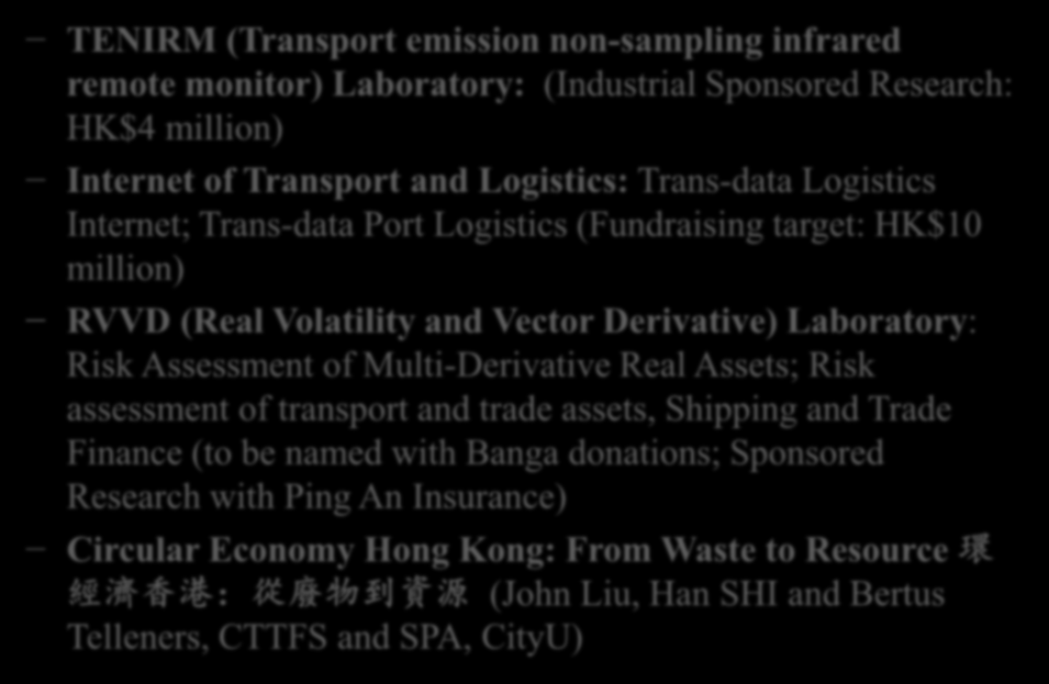 Horizon Innovation Projects TENIRM (Transport emission non-sampling infrared remote monitor) Laboratory: (Industrial Sponsored Research: HK$4 million) Internet of Transport and Logistics: Trans-data