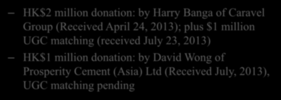 Industrial Supports and Collaborations (2013) 產 業 支 持 與 合 作 HK$2 million donation: by Harry Banga of Caravel Group (Received April 24, 2013); plus $1 million