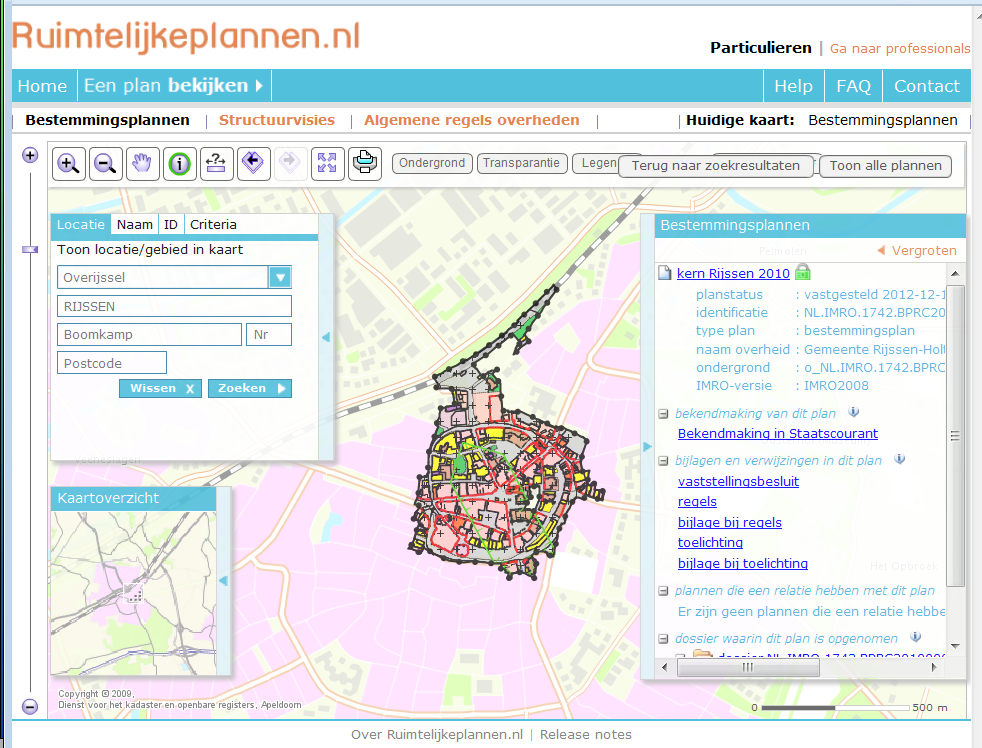 Dutch spatial plans project IDgis hometown Rijssen Example plan 5 layers (most common) NL.IMRO.1742.