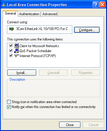 Adapting network settings 1. Select Network Connections in your operating system. 2. Right-click Local Area Connection and then click Properties. 3. Check whether Internet Protocol (TCP/IP) is listed.