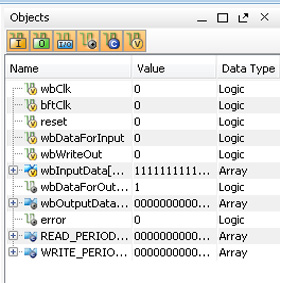 Adding HDL Objects to the Wave Configuration Using the Objects Window Figure 5-4 shows the Vivado simulator Objects window.