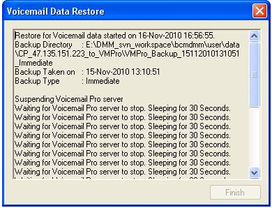 Configuring voicemail recordings in IP Office 6. Place a check mark next to 'Voicemails' and 'User Settings & Greetings' then hit the Restore button.