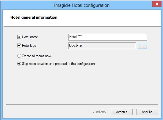 6. Imagicle Hotel configuration 1) Run Imagicle Hotel 2) Click File > Configuration 3) As displayed in the image below, enter the Hotel name,