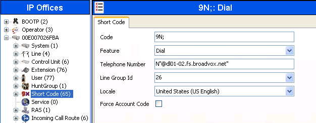 5.5. Short Code Define a short code to route outbound traffic to the SIP line. To create a short code, right-click on Short Code in the Navigation Pane and select New.