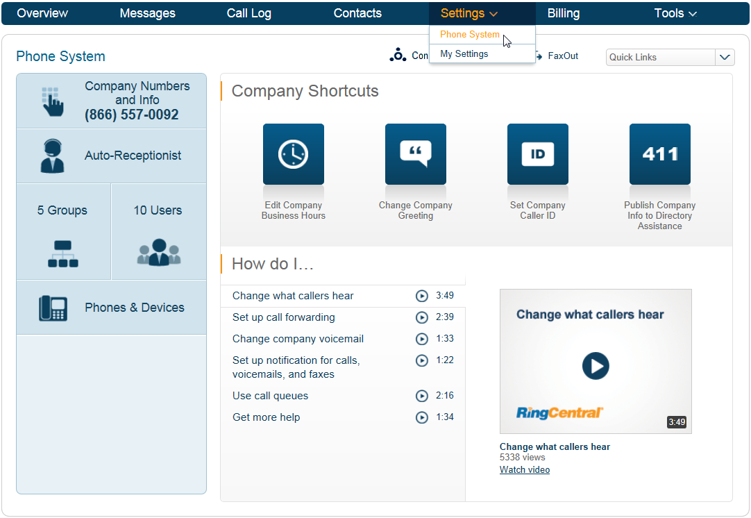 RingCentral Office Reference Guide Getting Started Settings Settings has two groupings: Phone System, where you can