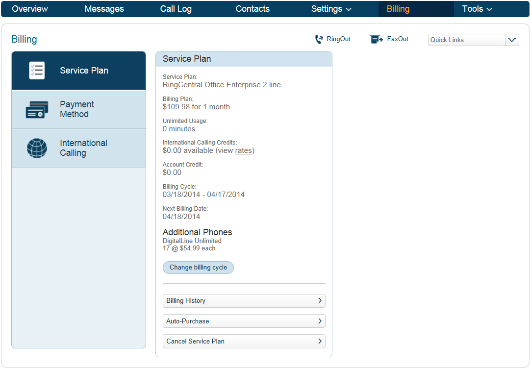 RingCentral Office Reference Guide Getting Started Billing The Billing tab leads to menus for managing your