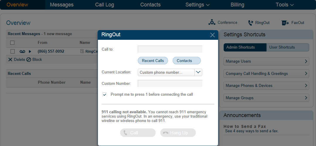 RingCentral Office Reference Guide Getting Started RingOut RingOut enables one-touch calling from any phone or Internet-enabled computer, allowing you to make calls using your business caller ID from