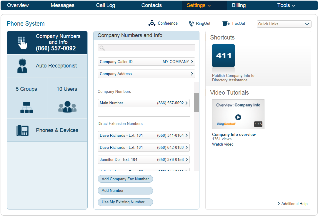 RingCentral Office Reference Guide Company Settings Adding Company Numbers Adding additional company numbers to your RingCentral account is simple.