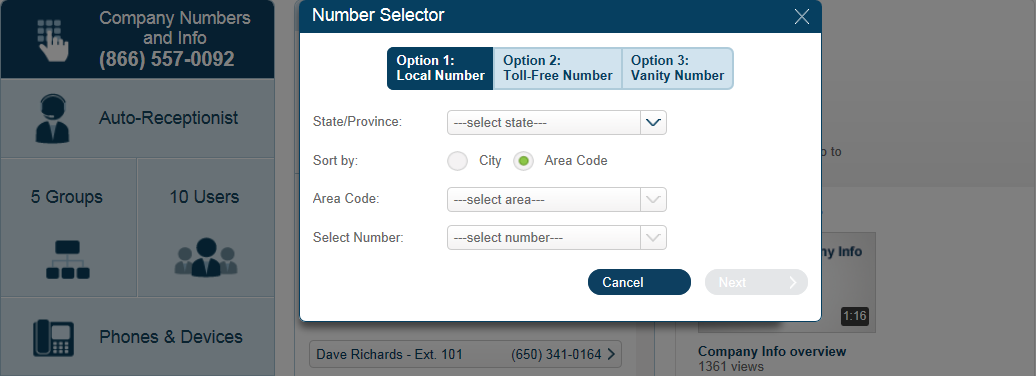 RingCentral Office Reference Guide Company Settings 5. Using the Number Selector, click the corresponding tab to add a local, toll-free or vanity number. 6. 7. 8.