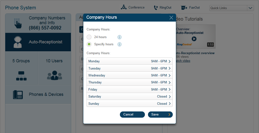 RingCentral Office Reference Guide Auto-Receptionist Settings Company Business Hours Customize your company s business hours of operation by day.