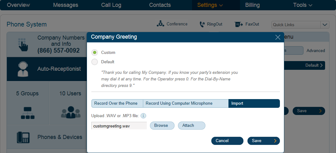 RingCentral Office Reference Guide Auto-Receptionist Settings Upload a Company Greeting from Your Computer 1 1. Under the Settings tab select Phone System. 4 2. 3. Click Auto-Receptionist.