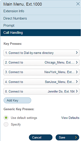 RingCentral Office Reference Guide Multi-level IVR Settings Set up Keys to Handle Incoming Calls 6a To set up touch pad keys to handle incoming calls to the new IVR menu: 1.