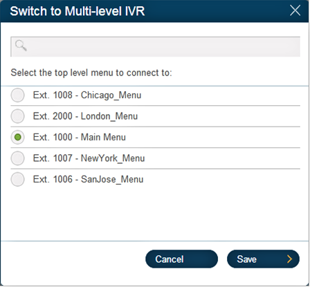 RingCentral Office Reference Guide Multi-level IVR Settings Change Auto-Receptionist from single to multi-level IVR mode As an option, you can change your Auto-Receptionist from a single-level to a