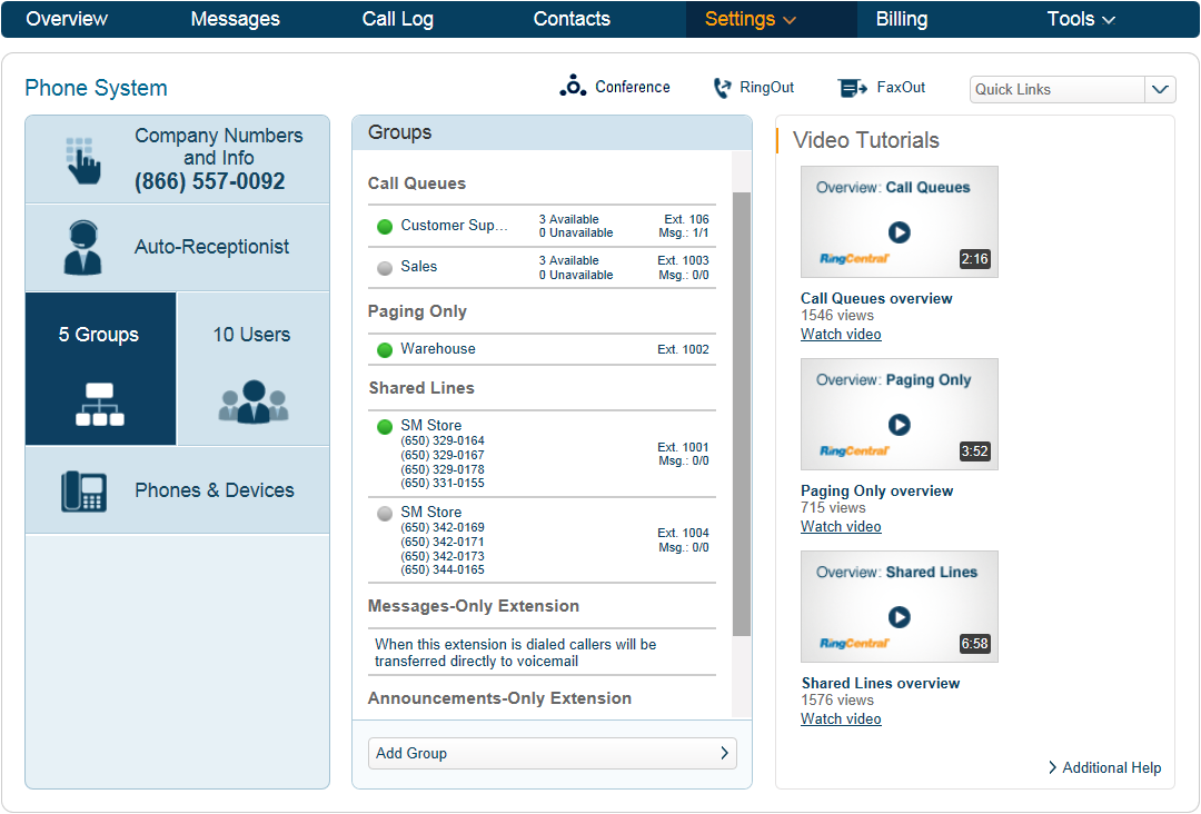 RingCentral Office Reference Guide Groups and Call Queues Groups Groups enable you to designate a group of employees with similar activities or services beyond department functions.